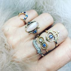 Antique moonstone and sapphire stacks so well with sapphire and diamond. A dreamy collection for the boho bride.