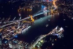 Aerial view of Sydney by night