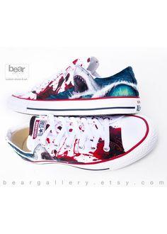 5cfa464c23da Custom Painted Shark Converse Shoes - Hand Painted Custom Great White Shark  - Custom Shark Shoes