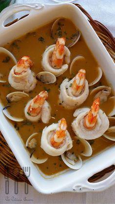 Popietas de lenguado y langostinos con salsa marinera - Las cosas de mi cocina Ceviche, Thai Red Curry, Salsa, Rolls, Fish, Breakfast, Ethnic Recipes, Desserts, Gastronomia