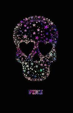 "Black and pink and purple ""PINK"" skull galaxy wallpaper I created! Sugar Skull Tattoos, Sugar Skull Art, Sugar Skulls, Wallpaper Caveira, Galaxy Wallpaper, Wallpaper Backgrounds, Whatsapp Pink, Skull Pictures, Skull Artwork"