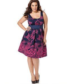 Spense Plus Size Dress, Sleeveless Floral Print - Plus Size Dresses - Plus Sizes - Macy's