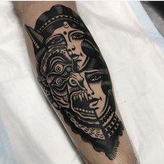 Tattoo by aaronjmurphy tattoo Artist blackworkers Badass Tattoos, Life Tattoos, Tattoos For Guys, Cool Tattoos, Traditional Thigh Tattoo, Traditional Tattoo Black And White, Tattoo Old School, Elbow Tattoos, Sleeve Tattoos