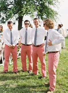Groomsmen's pants possibly gray? that's a sharp look if they all don't want to be in shorts, but I don't see why any guy wouldn't want to wear shorts