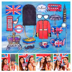 England/ UK photo booth props perfect for your English Tea Party, to celebrate London, Great Britain, the Queen/Royals or British culture England Party, England Uk, England Queen, Uk Photos, London Photos, Fishing Signs, 4th Of July Celebration, Music Photo, Photo Booth Props