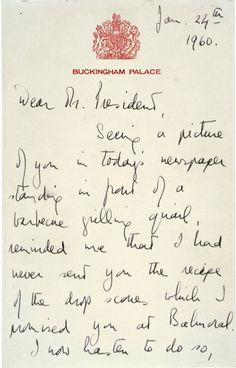 The Queen shares a recipe with Predisent Eisenhower // 11 Incredibly Powerful Letters From History