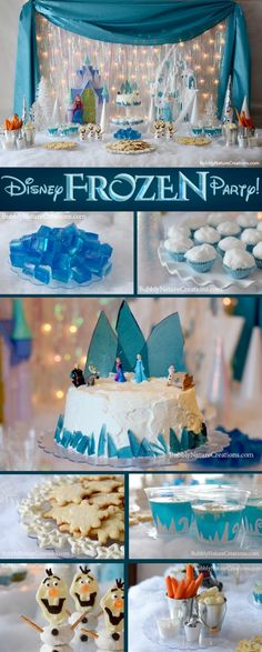 Disney FROZEN Party!!! I love the blue toffee shards as ice. Do you think I would be judged having a Frozen themed 21st?