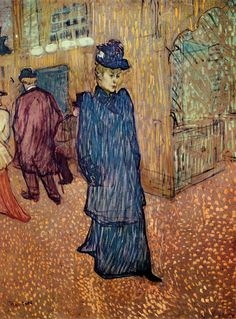 """On view in """"Old Masters to Monet"""" - March 23 - September Henri de Toulouse-Lautrec Jane Avril Leaving the Moulin Rouge, essence on board. 25 x 22 in. Collection of Wadsworth Atheneum Museum of Art, Hartford, CT. Bequest of George A. Henri De Toulouse Lautrec, Art Van, Vincent Van Gogh, Art Gallery, French Artists, Stretched Canvas Prints, Matisse, Monet, Oeuvre D'art"""