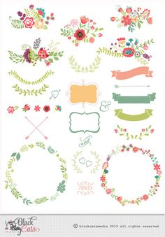 Flower frames and Lace Digital Clipart Ribbons and Frames for Wedding invitation Scrapbooking - Instant Download - Eps and PNG