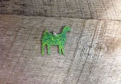 Green with blue crackle wooden goat pendant with rhinestone pinch bail. Repin to be entered to win one of four $50 gift certificates during our Five Year Anniversary Celebration in July 2014.