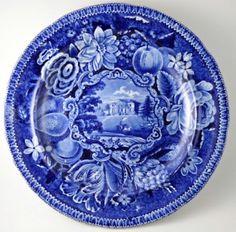 "Dinner plate.""Painshill, Surrey"". Ralph Hall c1815. (restored)"