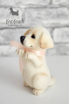 Felted cream Labrador • This dog measures approx 6 inch (16 cm ). This toy SOLD ! I can make CUSTOM TO ORDER miniature of your pets any size according to your description (breed, position...) or photos. Each new toys will be different, not like the previous one, with its own unique