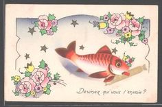 Cute vintage April 1st postcard featuring a red fish. #vintage #April_Fools_Day #fish
