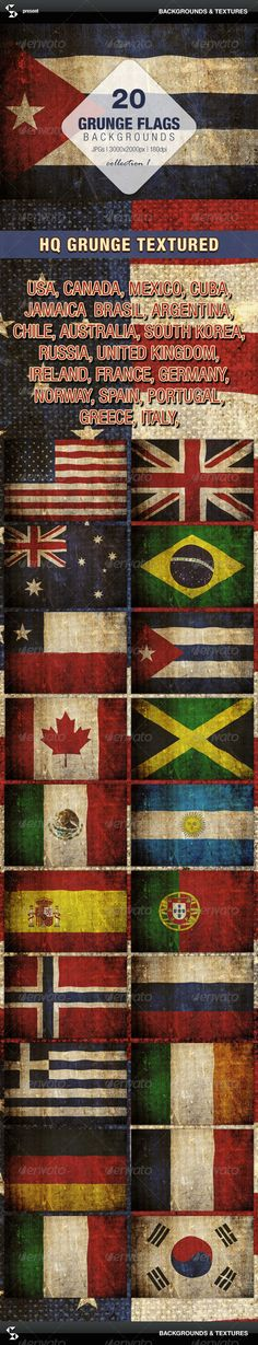 Grunge Flags - 20 countries around the world (backgrounds pack)