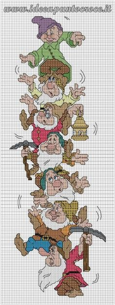 Cross stitch Disney Snow White and the Seven Dwarfs Disney Cross Stitch Patterns, Cross Stitch For Kids, Cross Stitch Baby, Counted Cross Stitch Patterns, Cross Stitch Charts, Cross Stitch Designs, Cross Stitch Embroidery, Embroidery Patterns, Disney Stitch