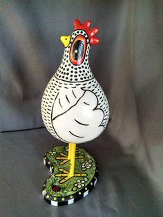 Hand Painted Folk Art Medium White Gourd Chicken