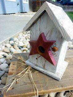 Rustic Birdhouse White Reclaimed Wood  w/ Star and rusty nail perch