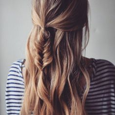 Half up braid curls with fishtail braid, Romantic braid hairstyle,Fascinating Ways to Braid Your Long Hair