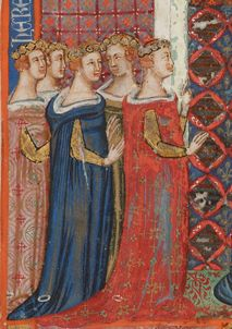 Eleanor of Anjou (August 1289 – 9 August wearing a gardecorps in the illuminated Naples Bible. Medieval Fashion, Medieval Clothing, Historical Clothing, Women's Clothing, Medieval World, Medieval Art, Margaret Of Anjou, Maine, Plantagenet