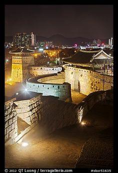 Hwaseomun gate at night, Suwon Hwaseong Fortress. South Korea