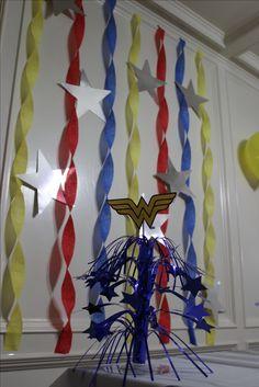 Ideas Birthday Party Ideas For Women Center Pieces Center Pieces – Birthday Party ideas 40th Birthday Party For Women, Small Birthday Parties, 50th Birthday Party Decorations, Birthday Ideas, 8th Birthday, Wonder Woman Birthday, Wonder Woman Party, Birthday Woman, Girl Superhero Party