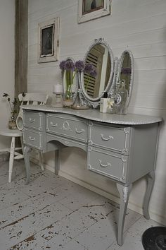 Get ready in style with this French Louis Dressing Table with Freestanding Mirror. We've painted in Farrow & Ball Lamp Room Grey with Strong White Detail. Inside drawers are in Valspar Providence Blue. http://www.thetreasuretrove.co.uk/bedroom-storage/french-louis-dressing-table-with-freestanding-mirror