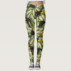 toucan jungle leggings @zazzle #jungle #feathers #leggings #tropical #bird #birds #illustration #monstera #leaves #sharonturner #green #artofwhere
