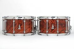 "The Evil Twins! 14 x 8 BRADY Jarrah Ply snare drums (Limited Edition ""Walkabout Series"" Karijini gloss finish). Only two ever made."