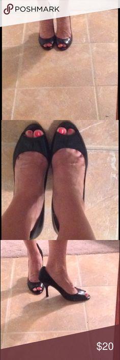 Anne Klein black peep toe heels Anne Klein black peep toe heels. These are your basic black peep toe heels that are so cute and comfy! Size 9 Anne Klein Shoes Heels