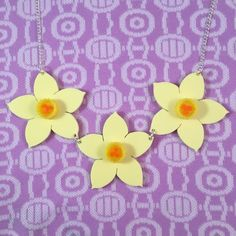 Daffodil trio necklace pastel lemon laser cut by LorelaiLorelai