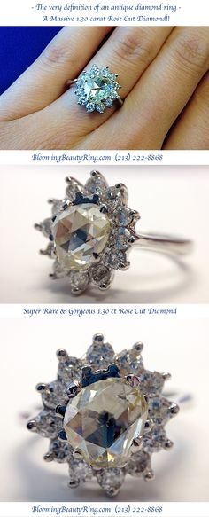 """The true definition of an """"antique diamond ring"""" is this huge 1.30 carat Rose Cut Diamond centered in an additional 1.0 ctw of accent diamonds in a Halo type setting.  #AntiqueDiamondRing #RoseCutDiamond #HaloRing  http://www.BloomingBeautyRing.com"""