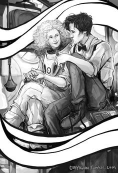WhoWho fanart :U BnW version? Possible Color one on the way. We'll see how work goes btwn now and Otakon. AnyWHO- *wink* River n Doctor T v T cuz I loff them.But really tho- 11, your face. I don't like it. Oh well.-COEY!____