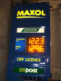 Double sided Electronic Fuel Price display for Maxol using ultra bright amber LEDs. 4 characters in 260mm height and 1200mcd brightness level.
