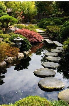 Zen garden path over a pond, Portland Japanese Garden, Portland, Oregon, USA. #japanese #zen #gardens #WaterGarden