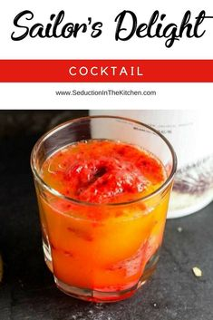 """Sailor's Delight is an easy tequila cocktail recipe that is based on the old saying: """"Red Sky In The Morning, Sailors, Take Warning. Red Skies At Night, Sailor's Delight."""" This strawberry tequila sunrise is so refreshing and the perfect strawberry cocktail recipe to relax with. 