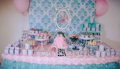 Pink and blue chic elephant baby shower for twins! See more party ideas at CatchMyParty.com!