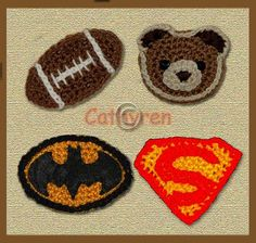 Ravelry: Appliques - Hello Kitty Head, Teddy Bear Head, Batman and Superman Logos pattern by Cathy Ren Crochet Stitches Patterns, Applique Patterns, Crochet Motif, Crochet Flowers, Knitting Patterns, Crochet Appliques, Crochet Crafts, Yarn Crafts, Crochet Toys