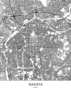 Nagoya, Japan, Map poster borderless print template.  Black streets, railways and grey water on white. This map will show only basic shapes for landma... ... #download #poster #map #stockimage #graphic #cityposter #citymap #city