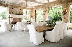 inside the pool house – decorated as an outdoor dining and living room. Aidan Gray