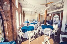 Blue and White Table Linens with Edison Lights - RSVP: The RiverRoom Blog