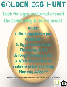 Get ready: Our Golden Egg Hunt starts tomorrow! Be on the lookout for golden eggs scattered around the community. Find one and win a prize! Tallahassee Apartments, Downtown Tallahassee, Tallahassee Community College, The Hub, Bedroom Floor Plans, Bedroom Flooring, Egg Hunt, School Fun, Custom Paint