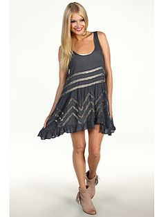 """Free People Voile and Lace Trapeze Slip in Storm Combo  """"Piggy Piggy"""""""