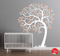 Baby Nursery Room Ideas with Tree Wall Mural