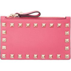 Valentino Pink Valentino Garavani Rockstud Coin Pouch ($325) ❤ liked on Polyvore featuring bags, wallets, pink, zipper wallet, coin purse, pink wallet, zip coin purse and credit card holder wallet