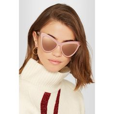 Stella McCartney Cat-eye acetate mirrored sunglasses (£165) via Polyvore featuring accessories, eyewear, sunglasses, pink mirrored sunglasses, mirror lens sunglasses, cat-eye glasses, pink mirror sunglasses and mirrored glasses