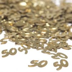"""50 Confetti by Century Novelty. $5.44. Plan a Perfect Anniversary Party! Let us help you plan the perfect 50th anniversary party. We have all of the party favors and supplies you need to make sure that your anniversary party is a hit! 0.8 ounces of confetti. 1/2"""" long and wide. Gold """"50"""" shaped confetti. One ounce will lightly cover an 84"""" long x 54"""" wide tablecover. A must have anniversary party supply! These 50th anniversary party supplies, favors and decorations are p..."""