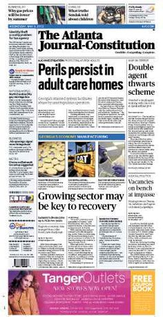 AJC investigation: Adult care home abuse; Georgia's manufacturing growth. The Atlanta Journal-Constitution front page for May 9, 2012.