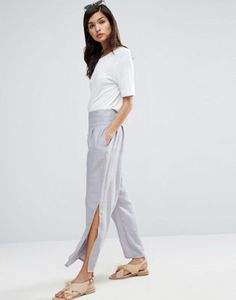 ASOS Raw Waist Band Textured Linen Pants with Split