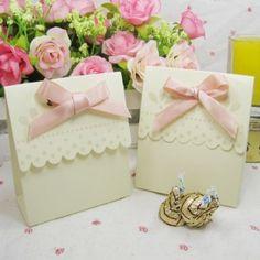off white polka dot bow wedding favors boxes EWFB052