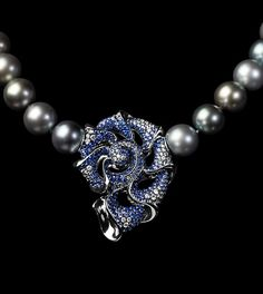 Mousson Atelier, collection Undina, necklace, White gold 750, Pearl, Diamonds, Sapphires